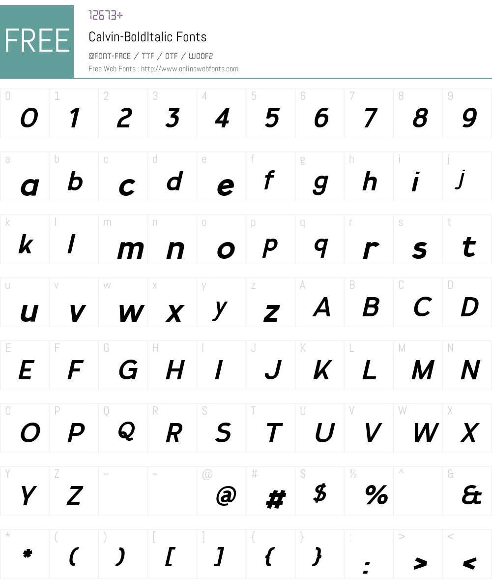 Calvin-BoldItalic Font Screenshots