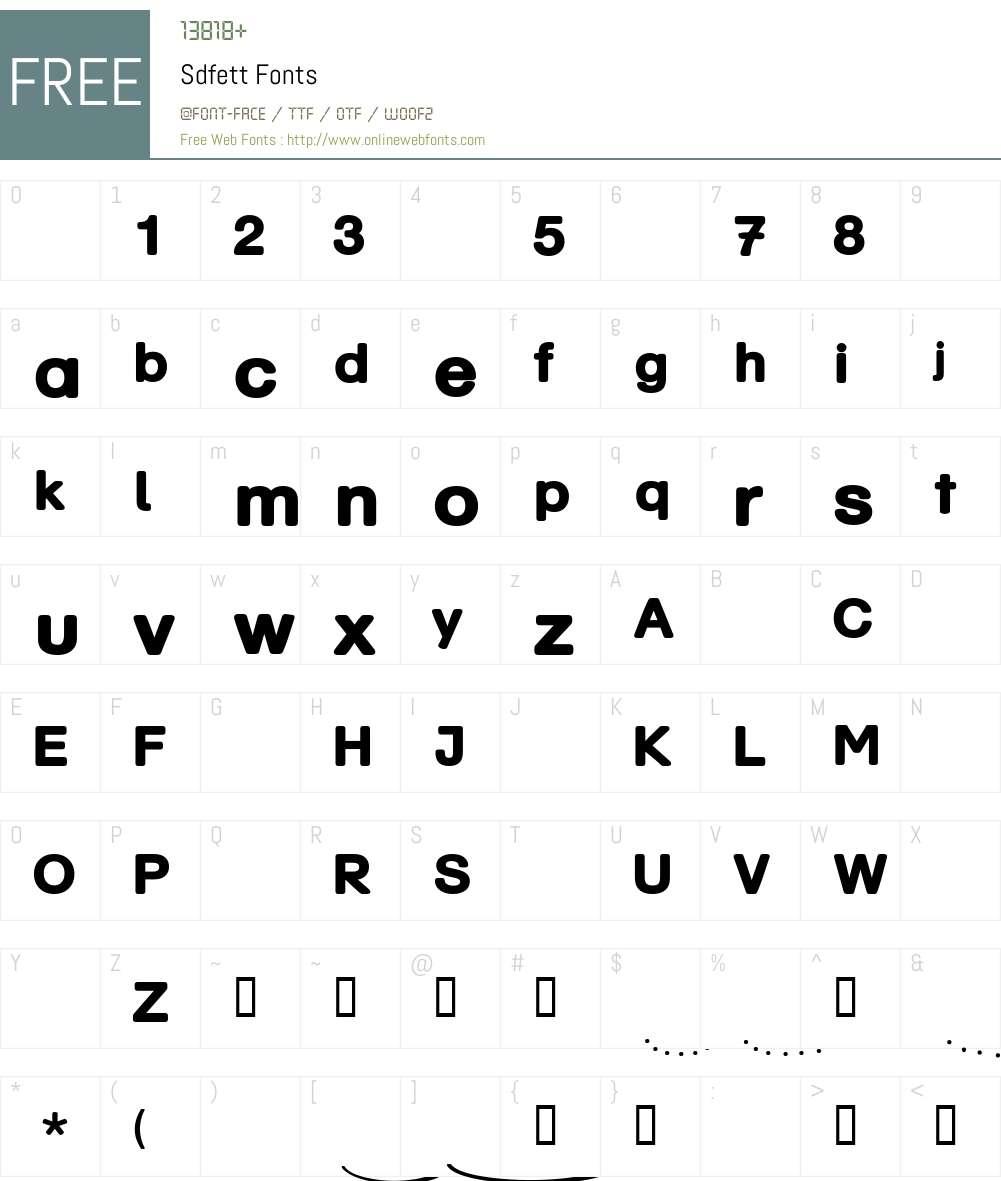 Sdfett Font Screenshots
