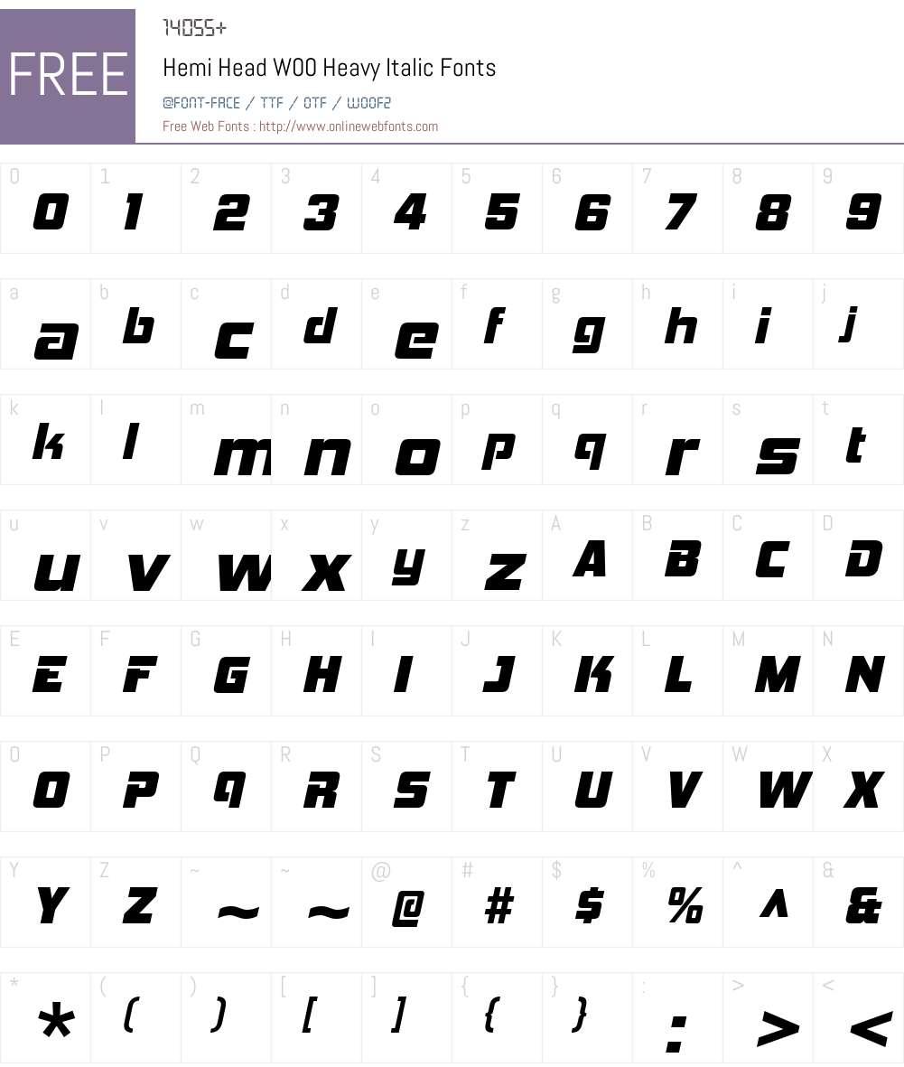 HemiHeadW00-HeavyItalic Font Screenshots