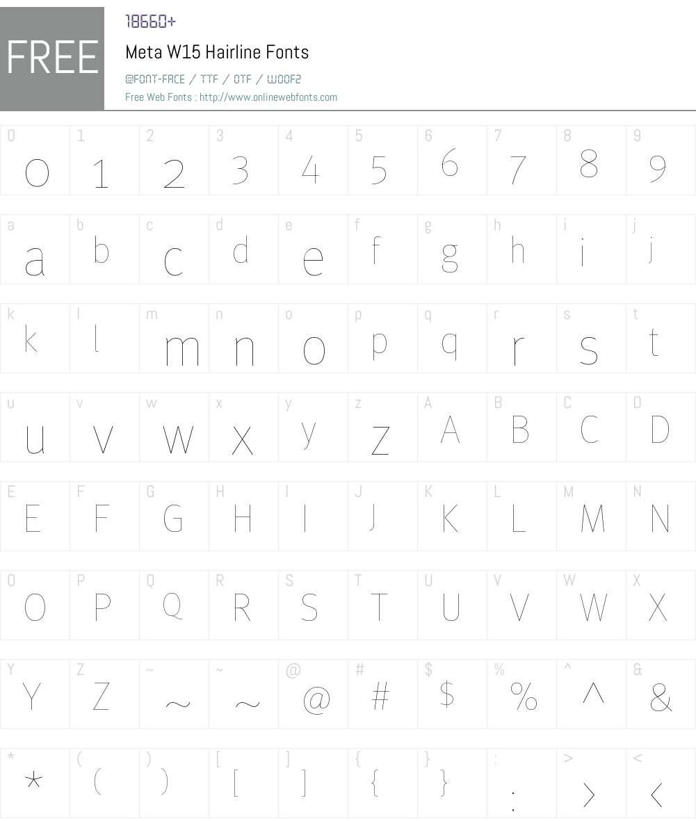 Meta W15 Font Screenshots