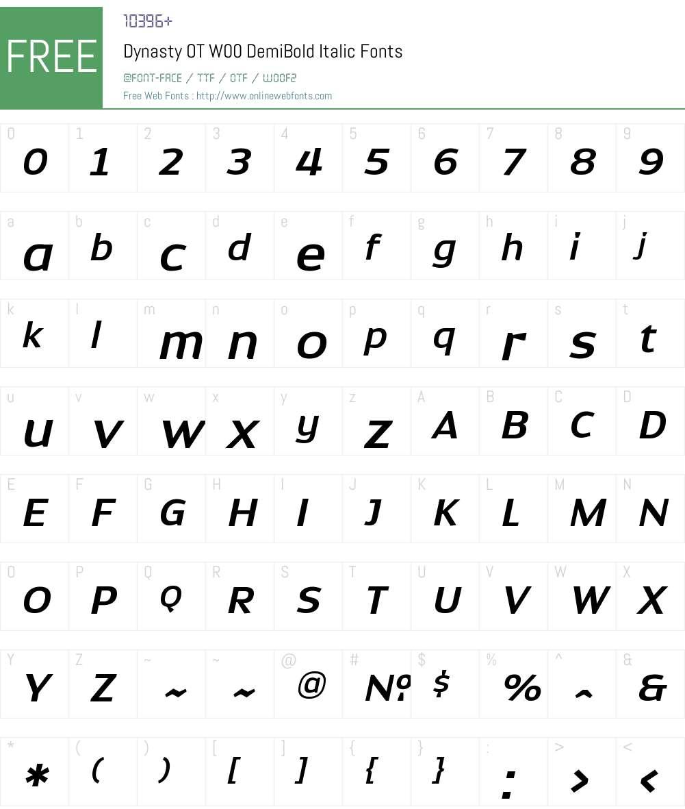 DynastyOTW00-DemiBoldItalic Font Screenshots
