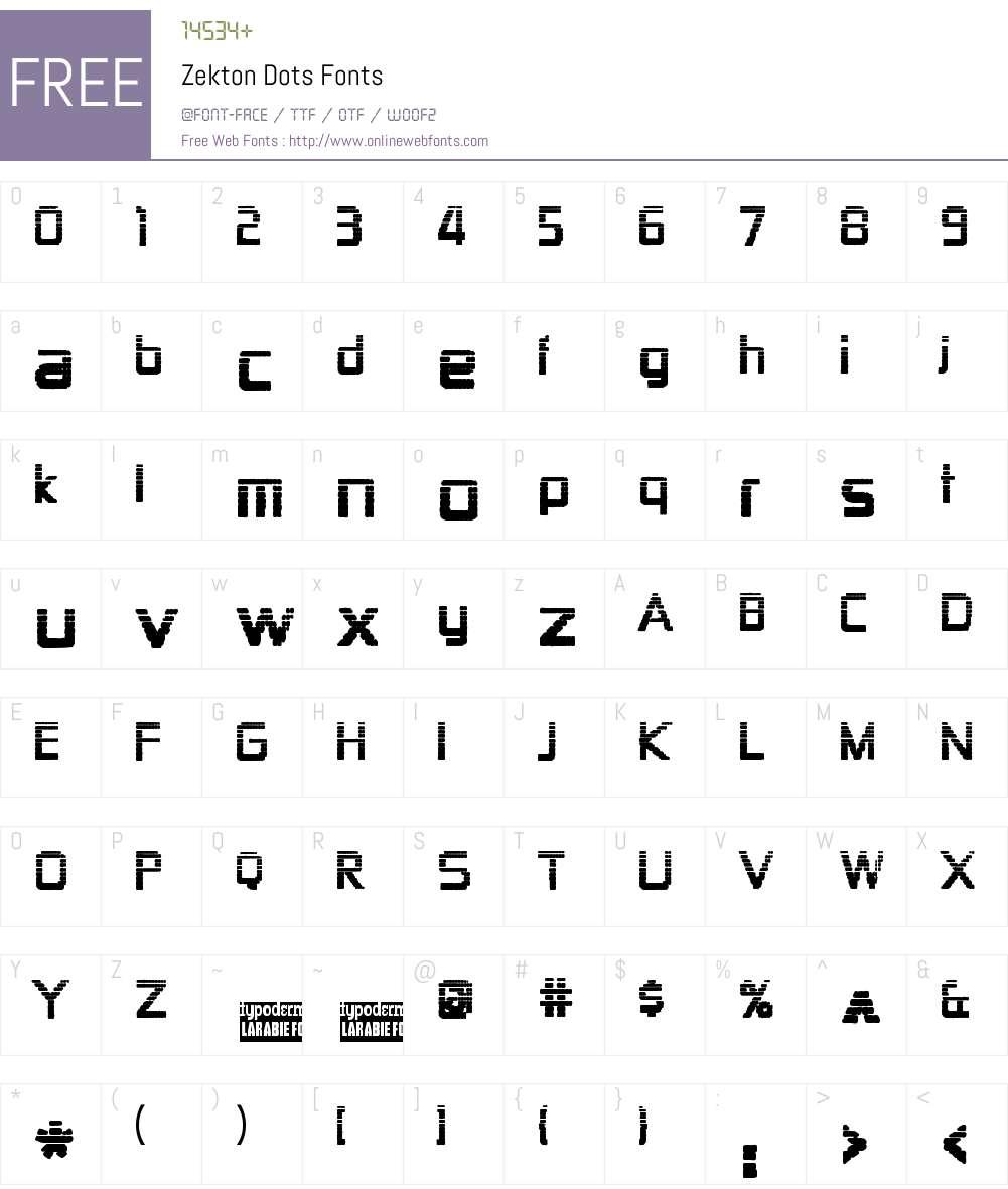 Zekton Dots Font Screenshots