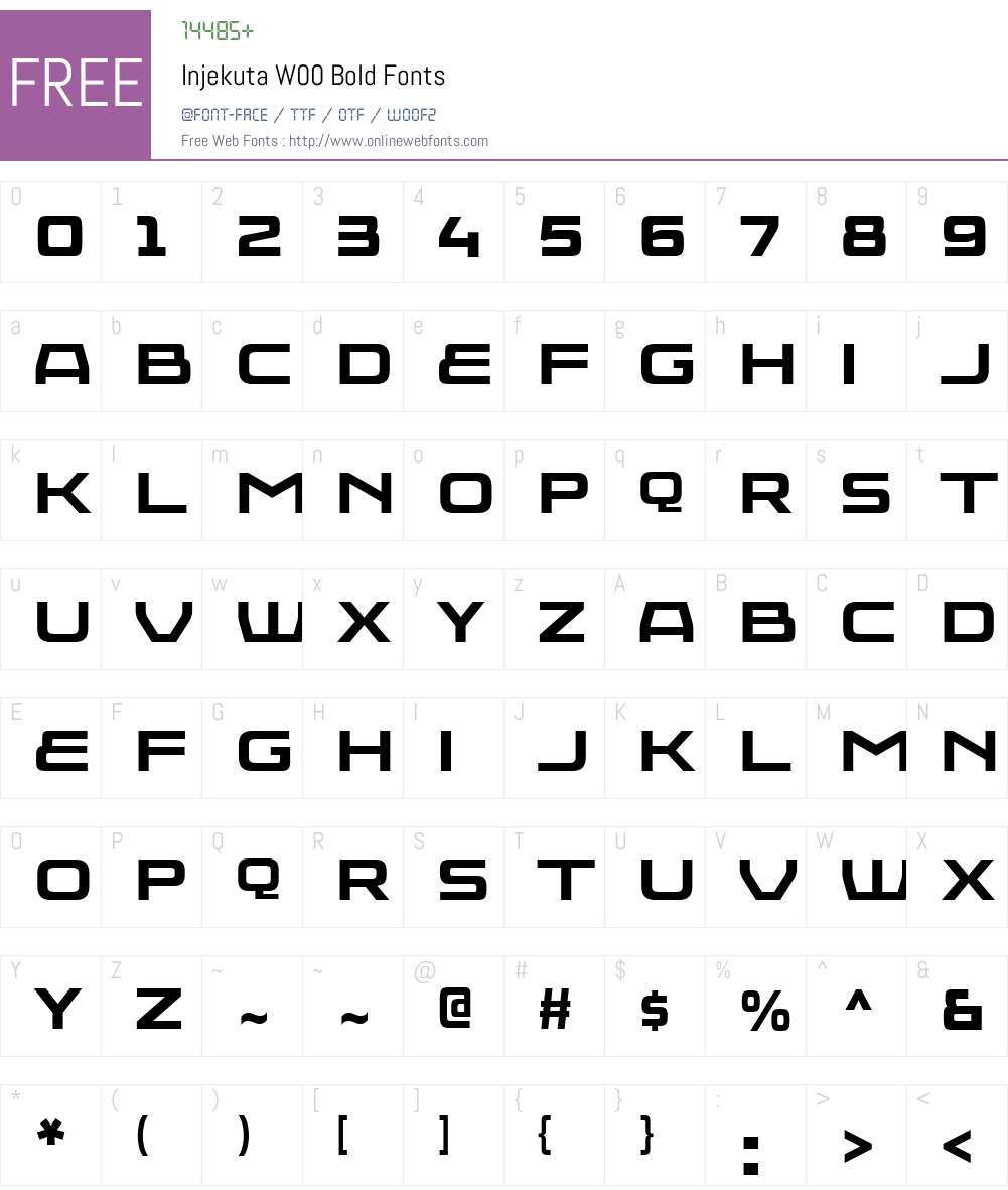 InjekutaW00-Bold Font Screenshots