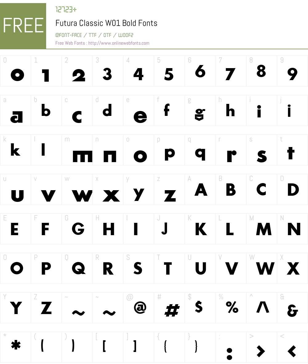 FuturaClassicW01-Bold Font Screenshots