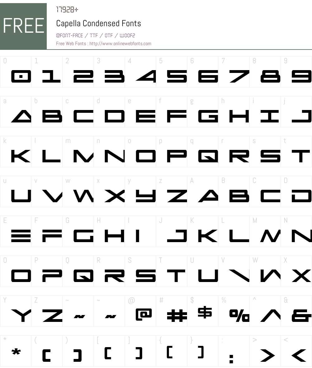 Capella Condensed Font Screenshots