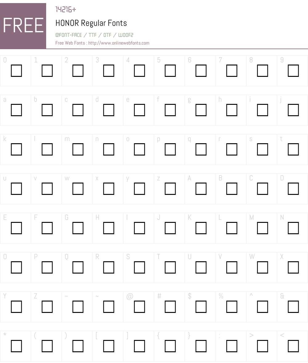 HONOR Font Screenshots