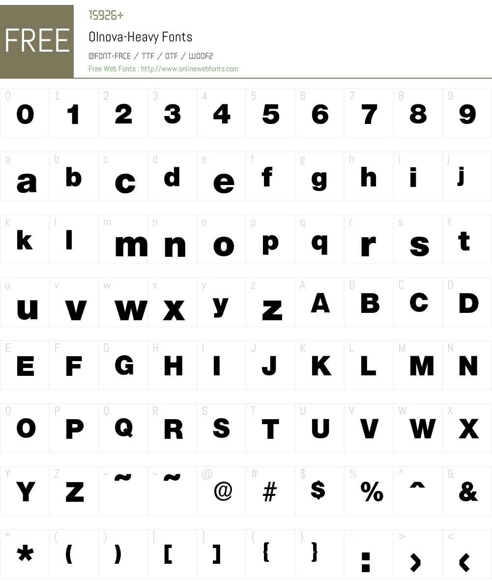 Olnova-Heavy Font Screenshots