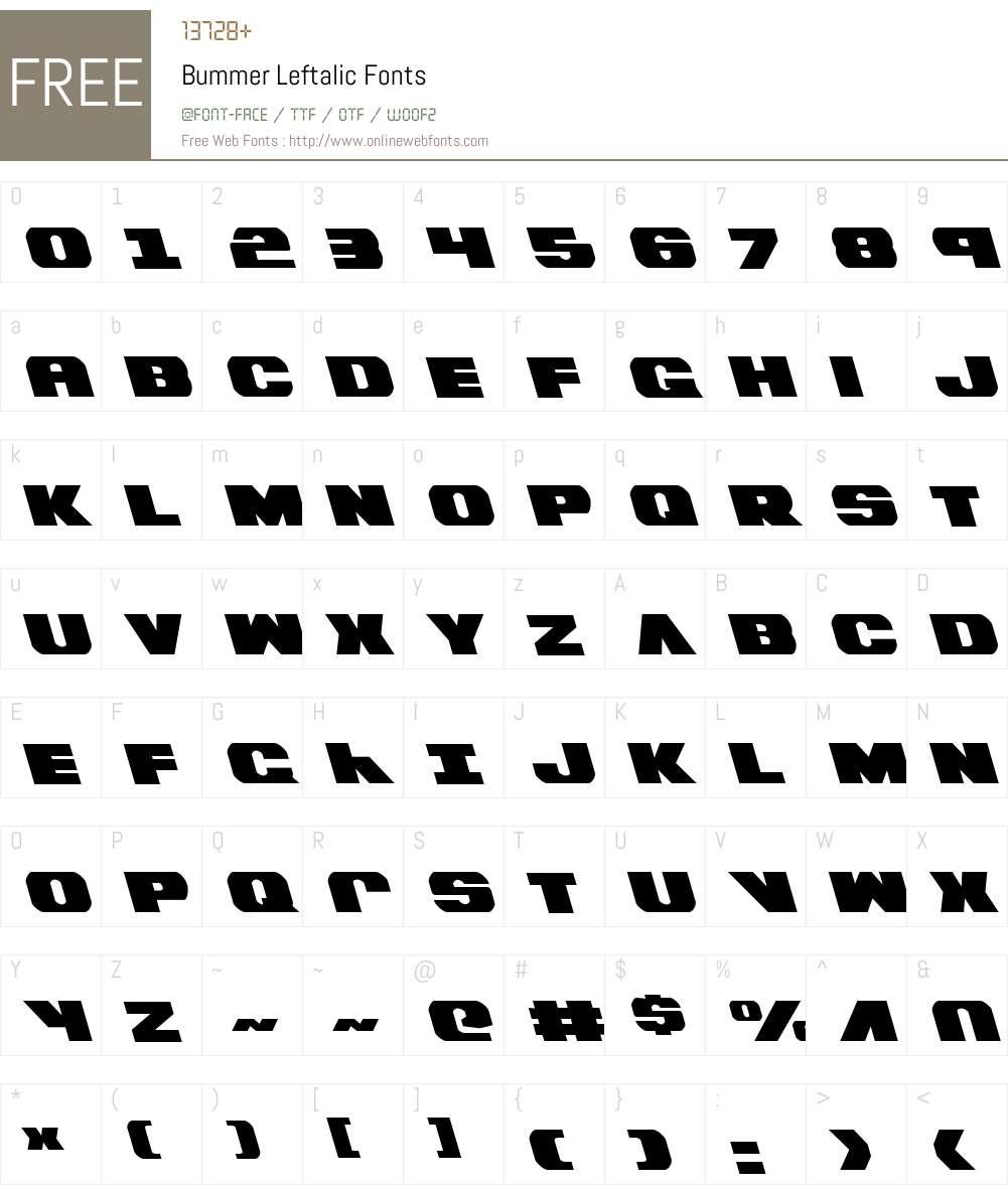 Bummer Leftalic Font Screenshots