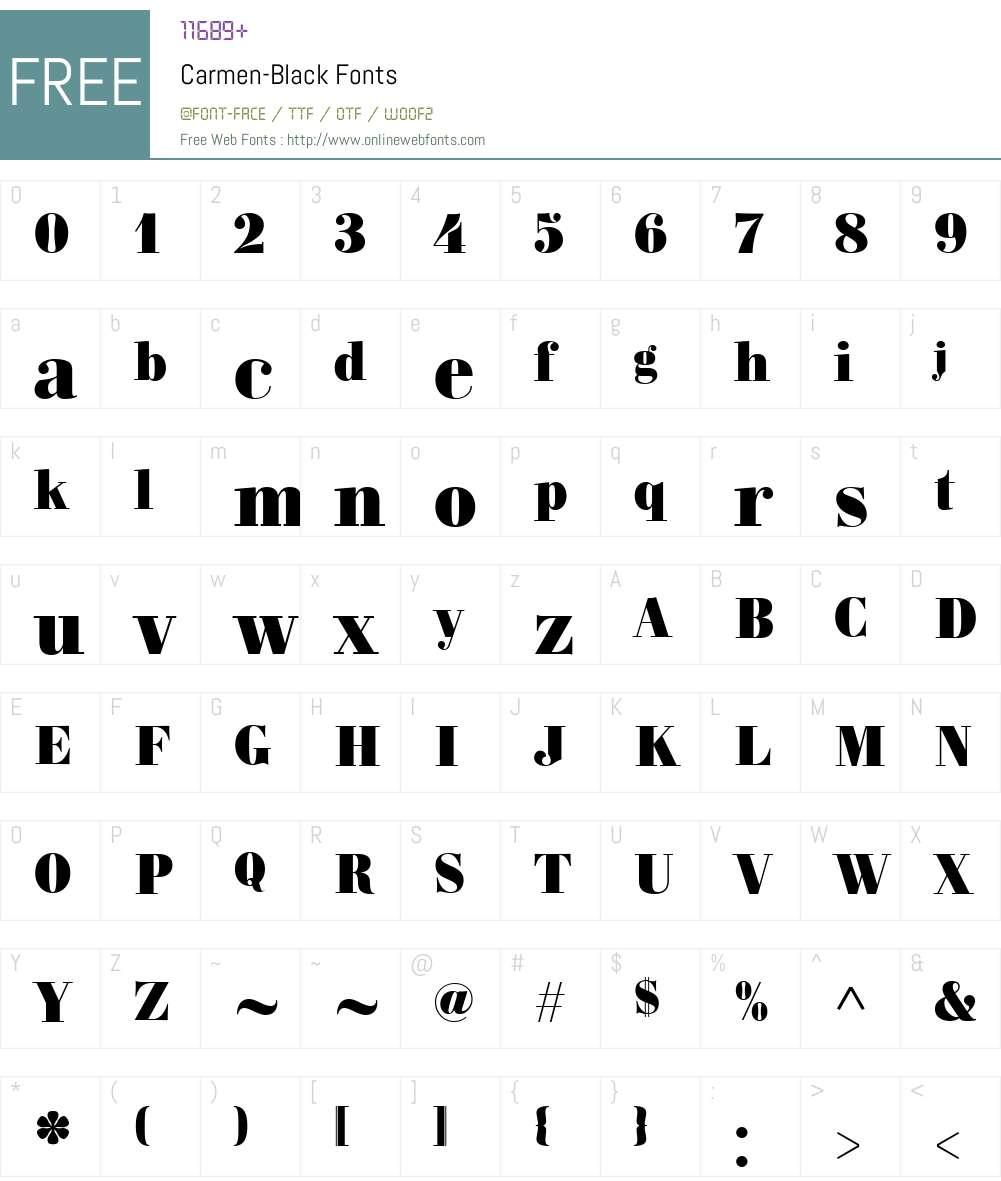 Carmen-Black Font Screenshots
