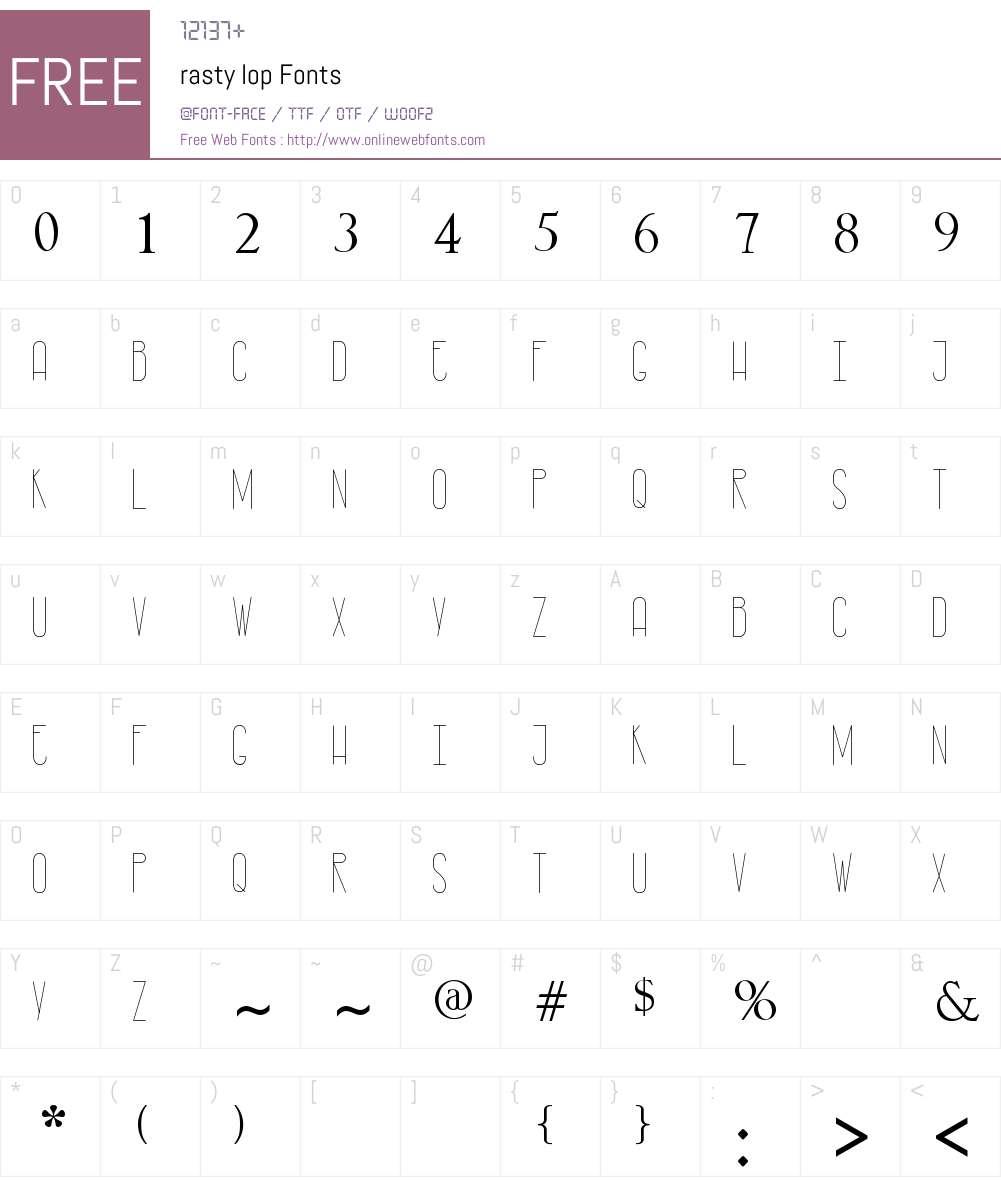 rasty lop Font Screenshots
