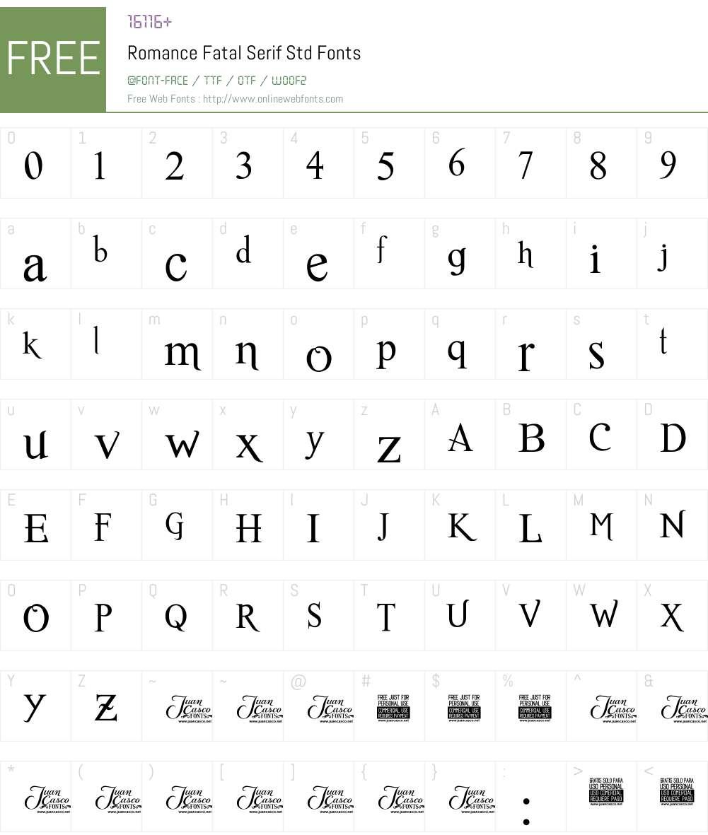 Romance Fatal Serif Std Font Screenshots