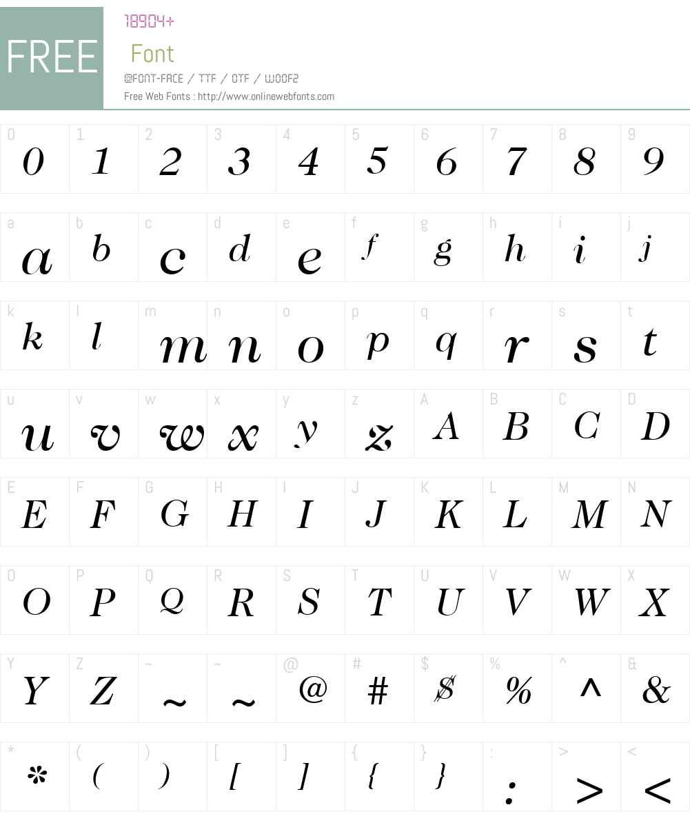 ITCCaslon224W01-BookItalic Font Screenshots