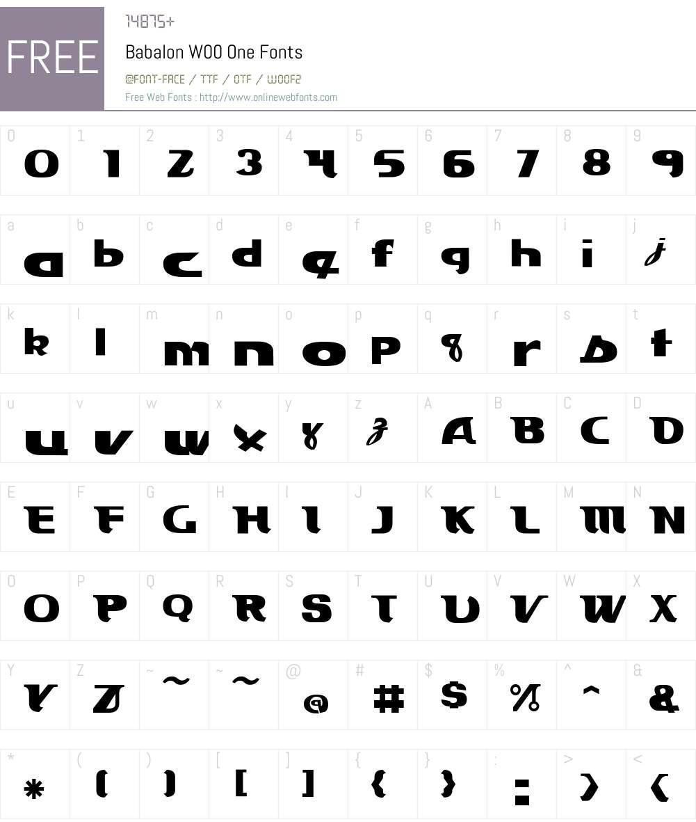 BabalonW00-One Font Screenshots
