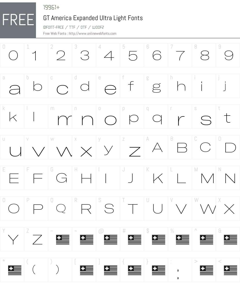 GT America Expanded Ultra Light Font Screenshots