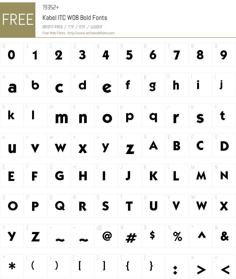 KabelITCW08-Bold Font Screenshots