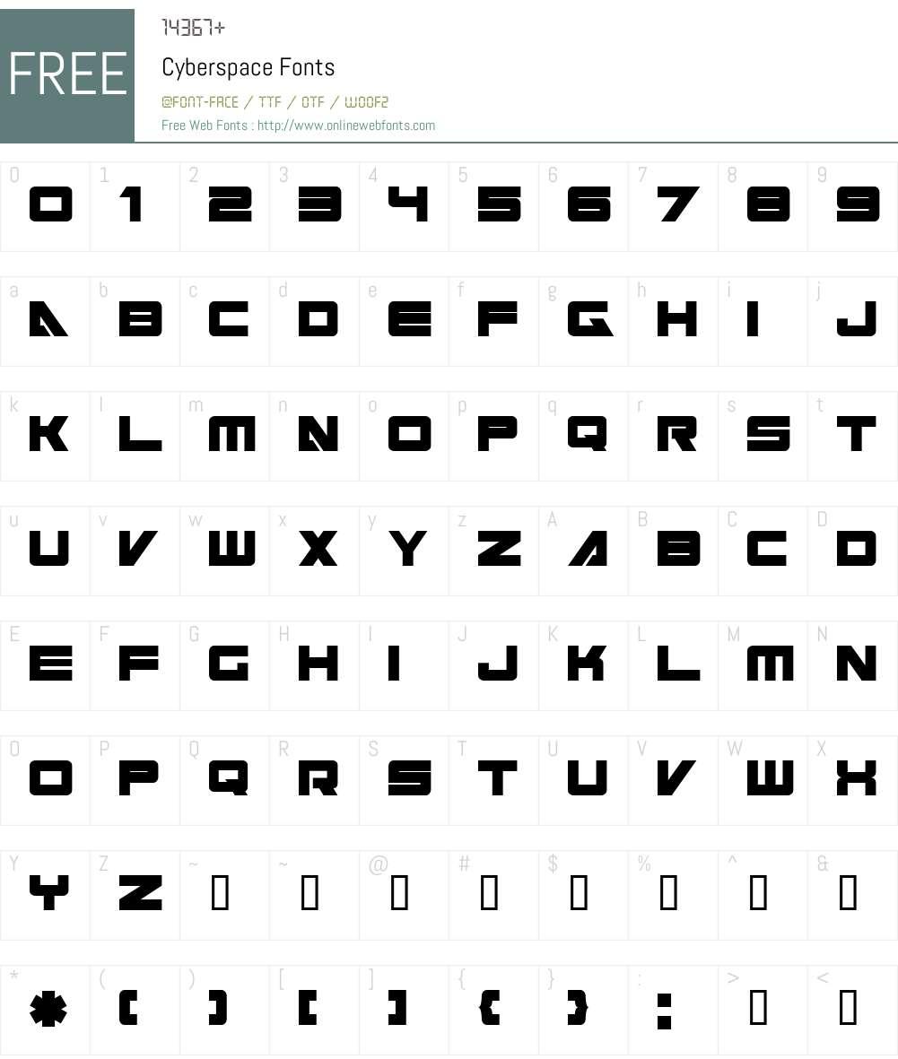 Cyberspace Font Screenshots