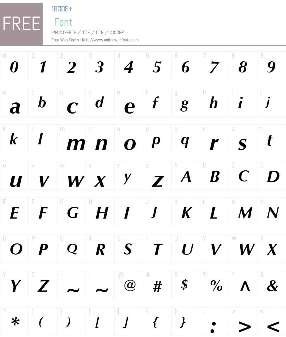 Optima LT Font Screenshots