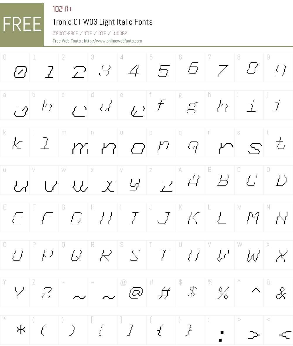FF Tronic Font Screenshots