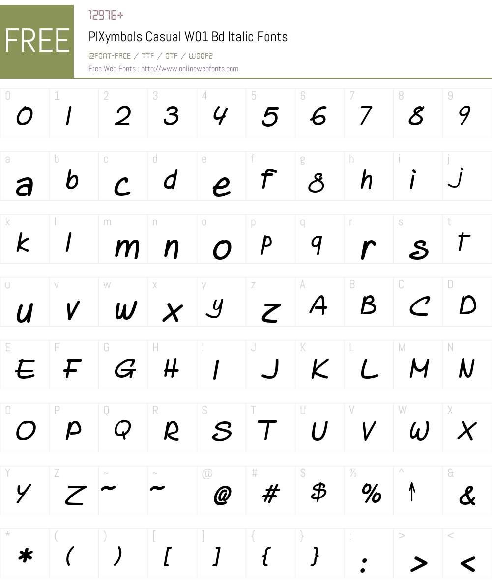 PIXymbolsCasualW01-BdItalic Font Screenshots