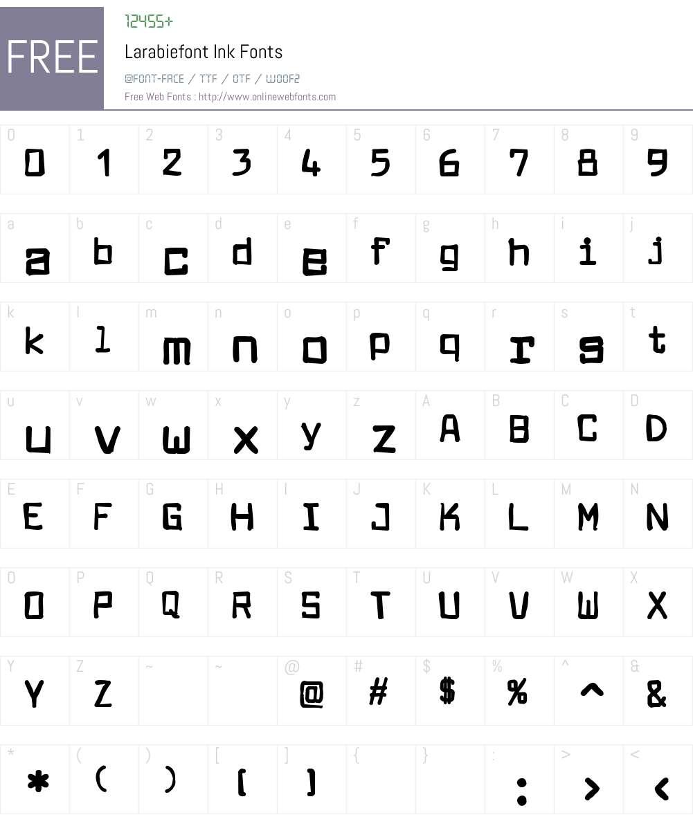 Larabiefont Ink Font Screenshots