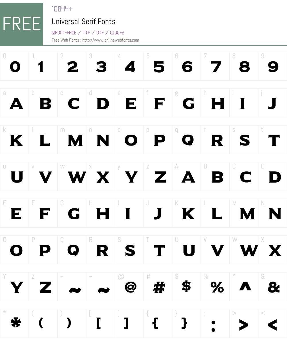Universal Serif Font Screenshots