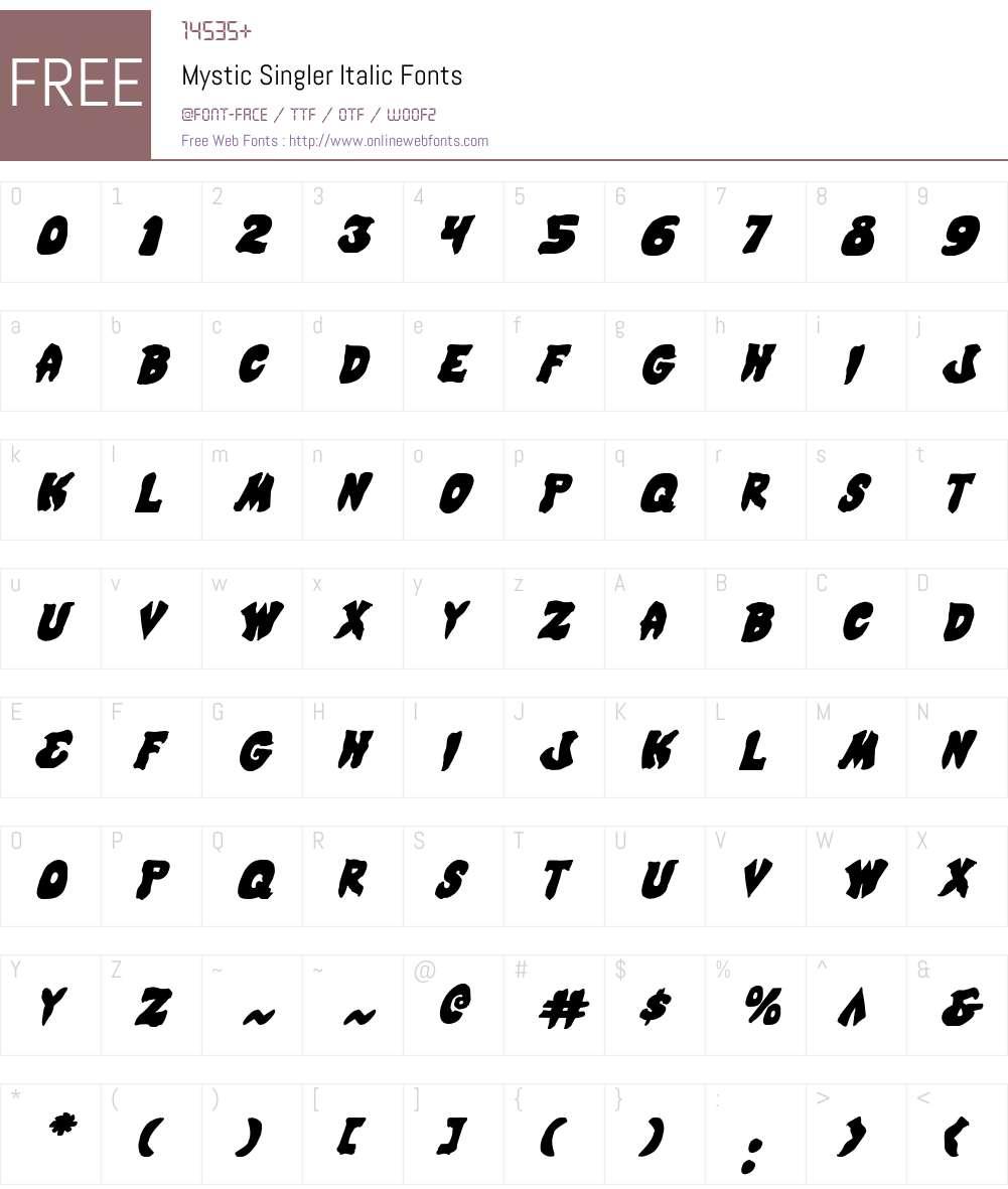 Mystic Singler Italic Font Screenshots