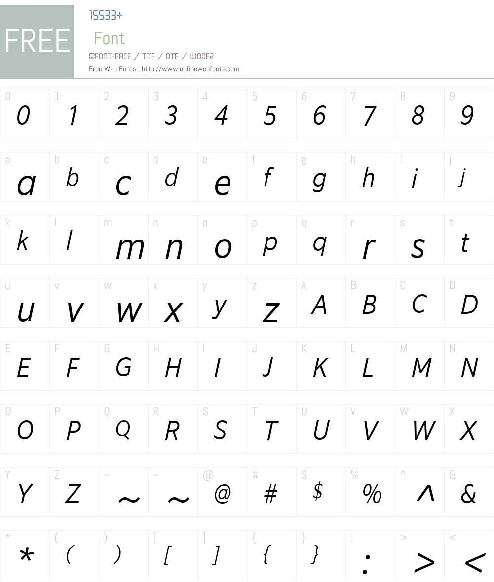 EquipCondW03-LightItalic Font Screenshots