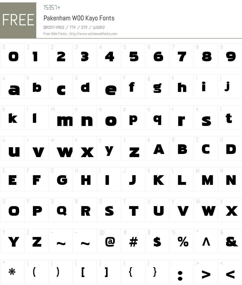 PakenhamW00-Kayo Font Screenshots