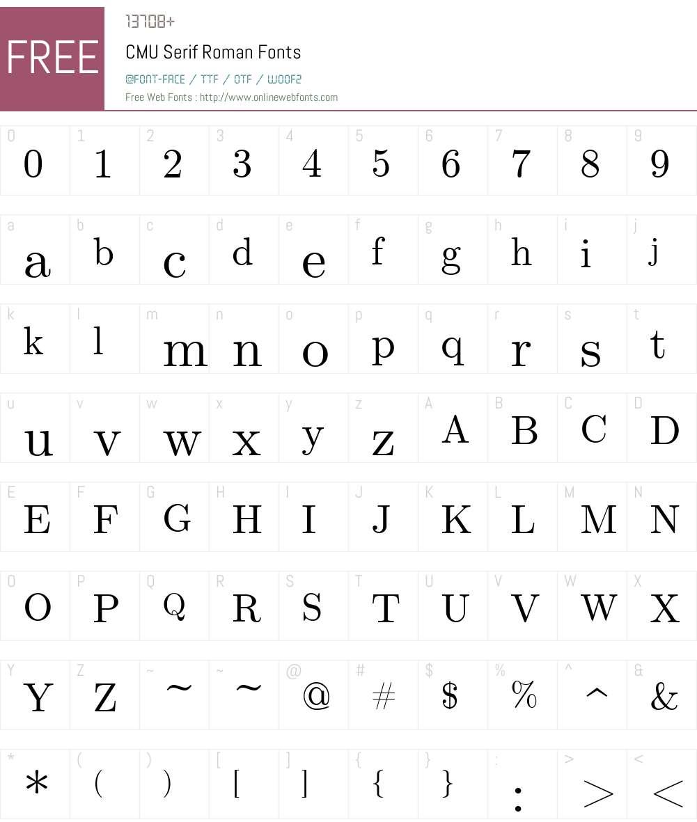 CMU Serif Font Screenshots