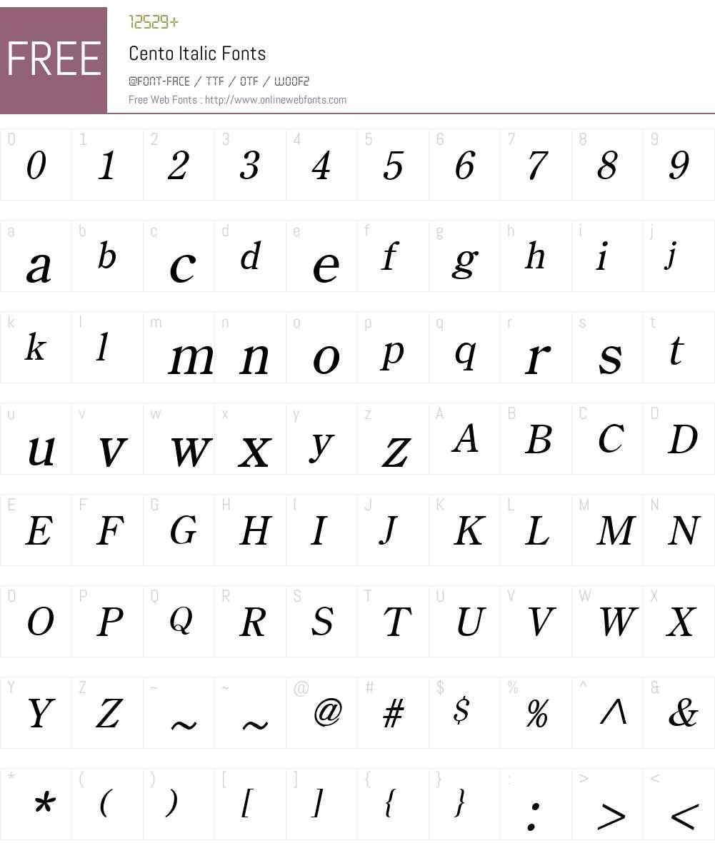 Cento Font Screenshots
