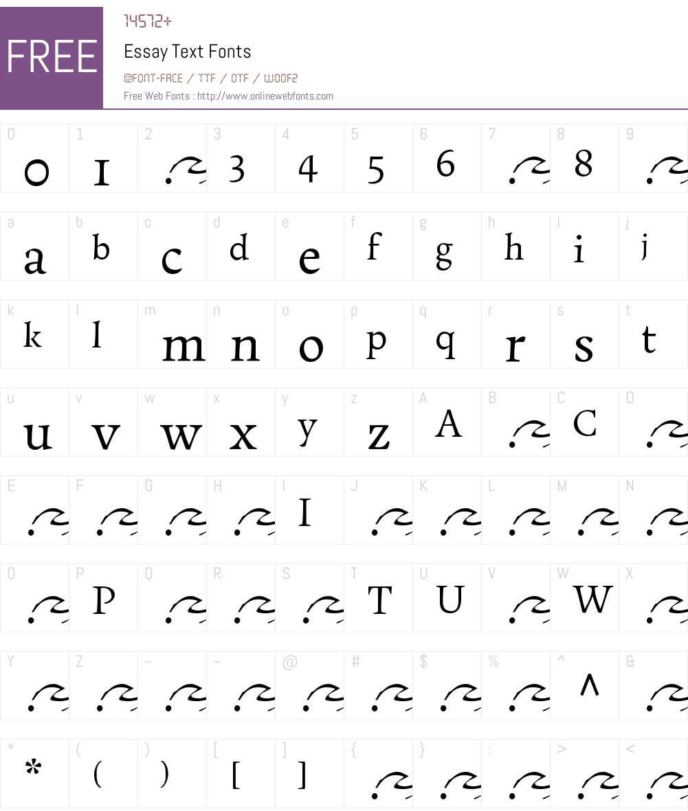 EssayText-Regular Font Screenshots