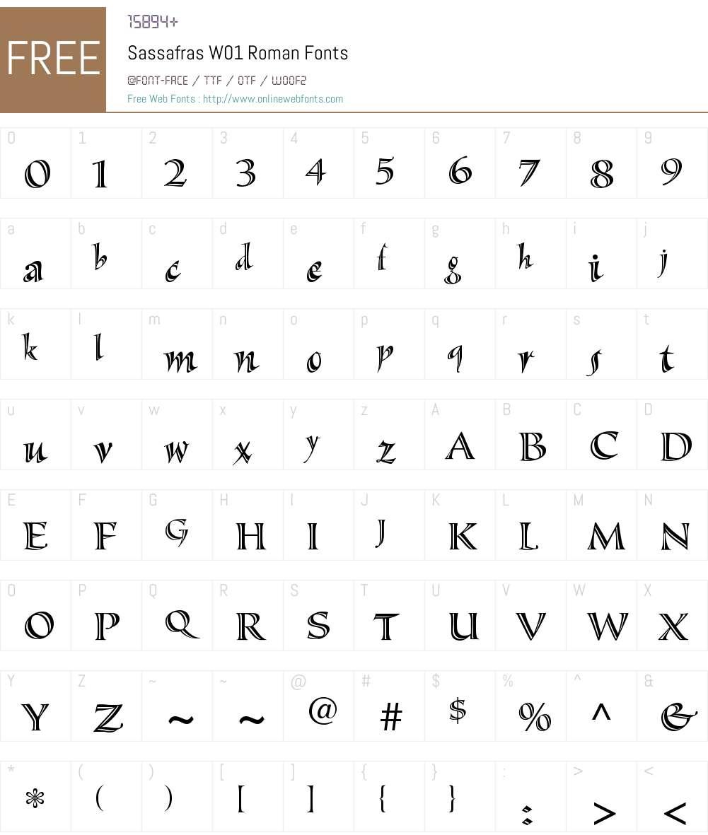 SassafrasW01-Roman Font Screenshots