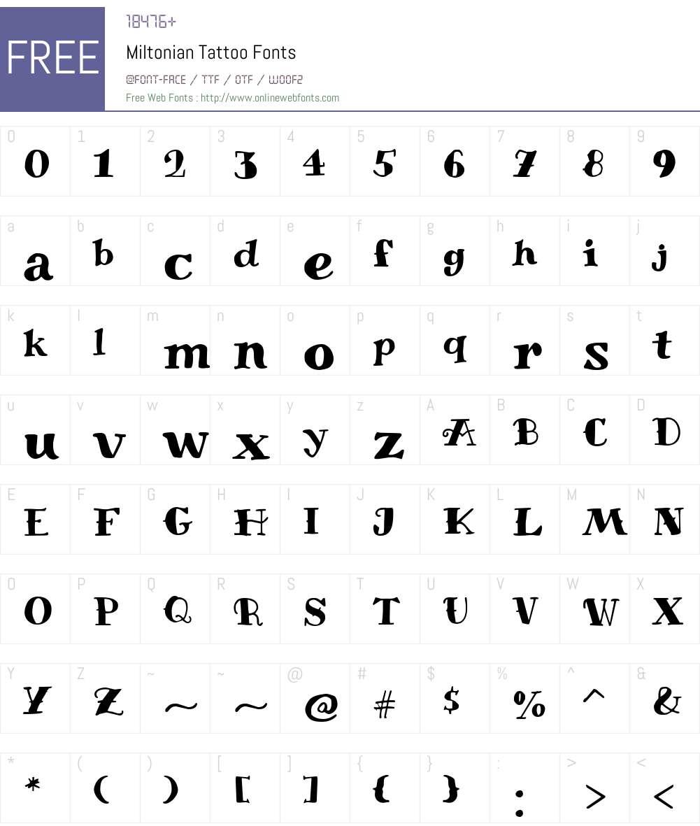 Miltonian Tattoo Font Screenshots