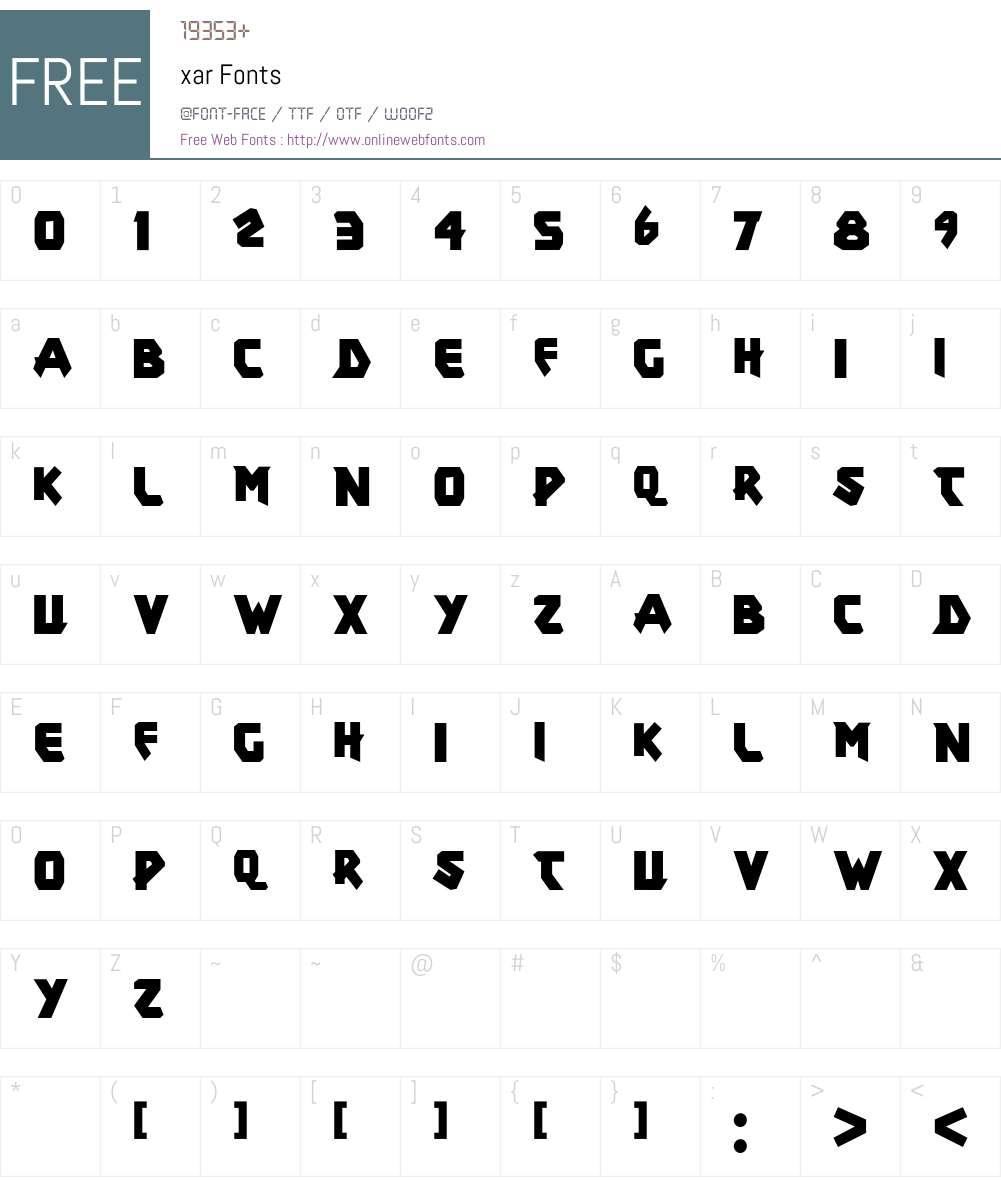 xar Font Screenshots