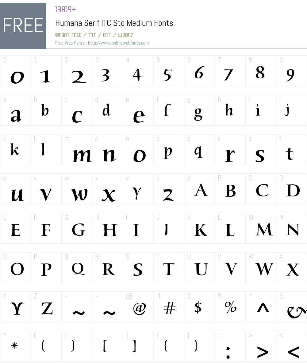 Humana Serif ITC Std Font Screenshots