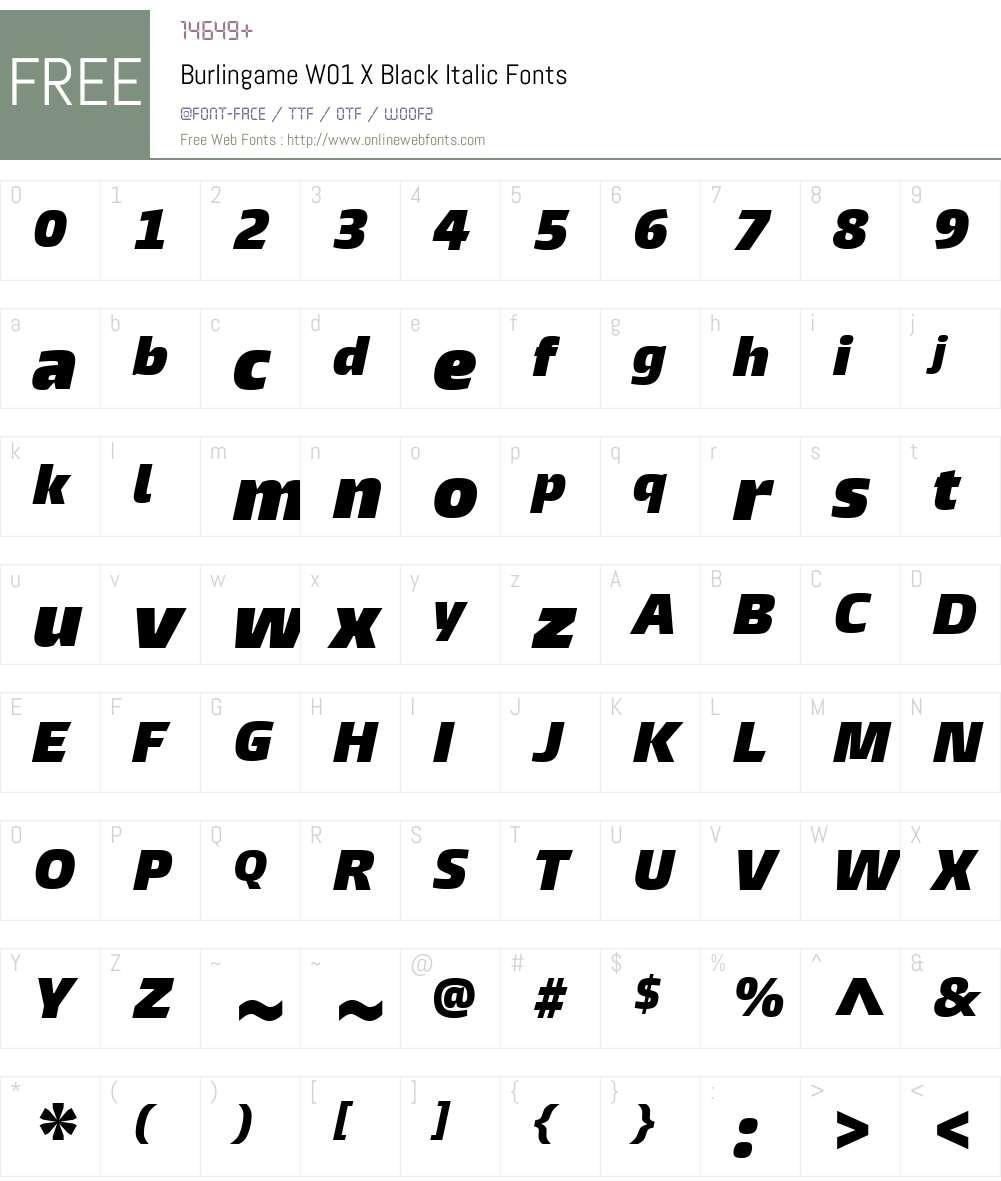 BurlingameW01-XBlackIt Font Screenshots