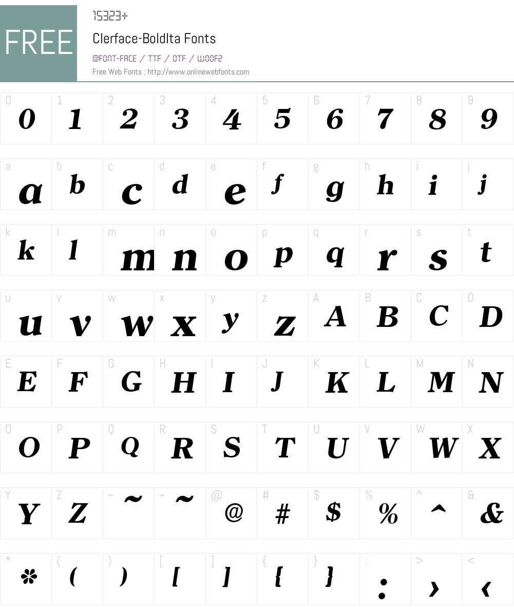 Clerface-BoldIta Font Screenshots