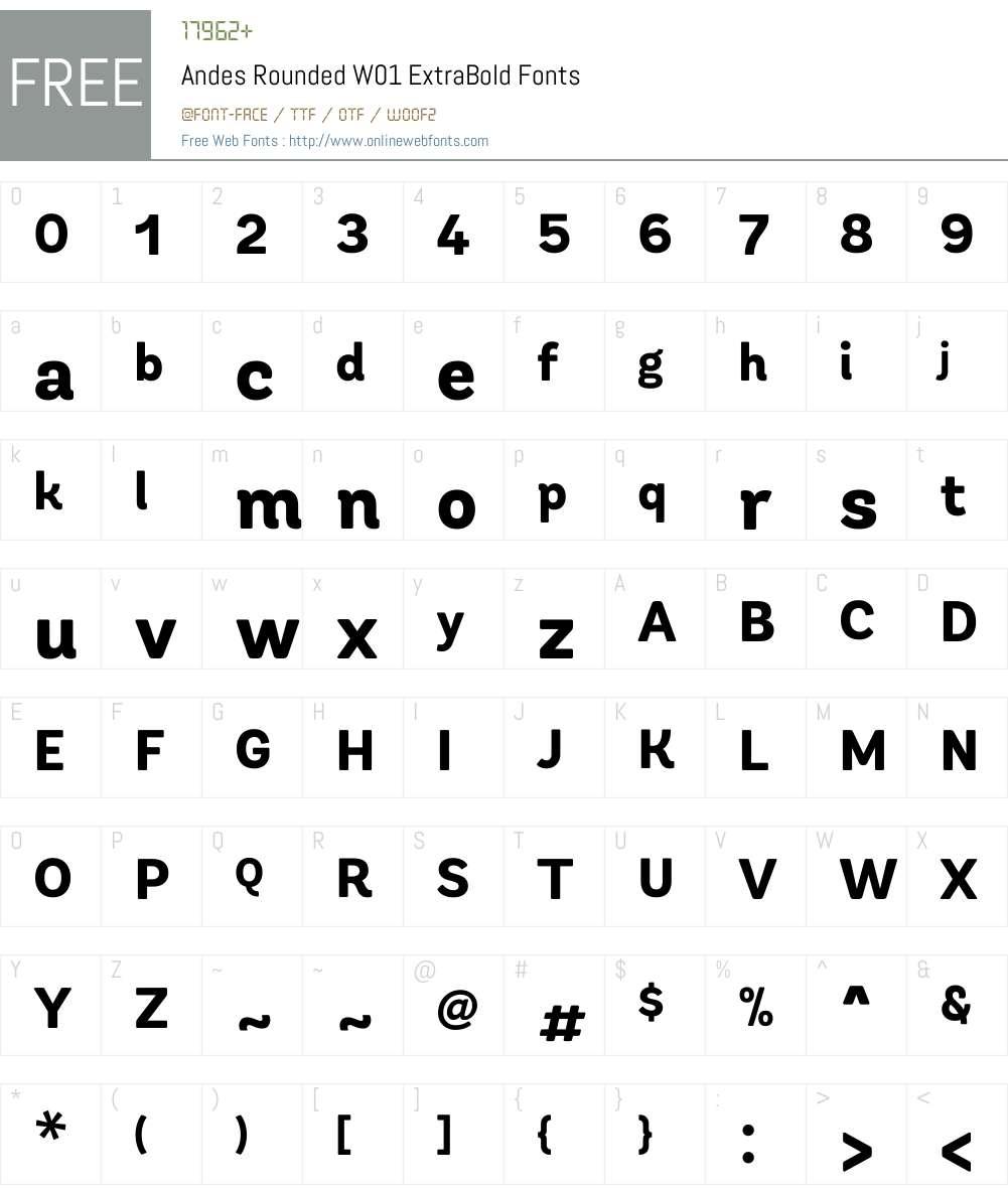 AndesRoundedW01-ExtraBold Font Screenshots