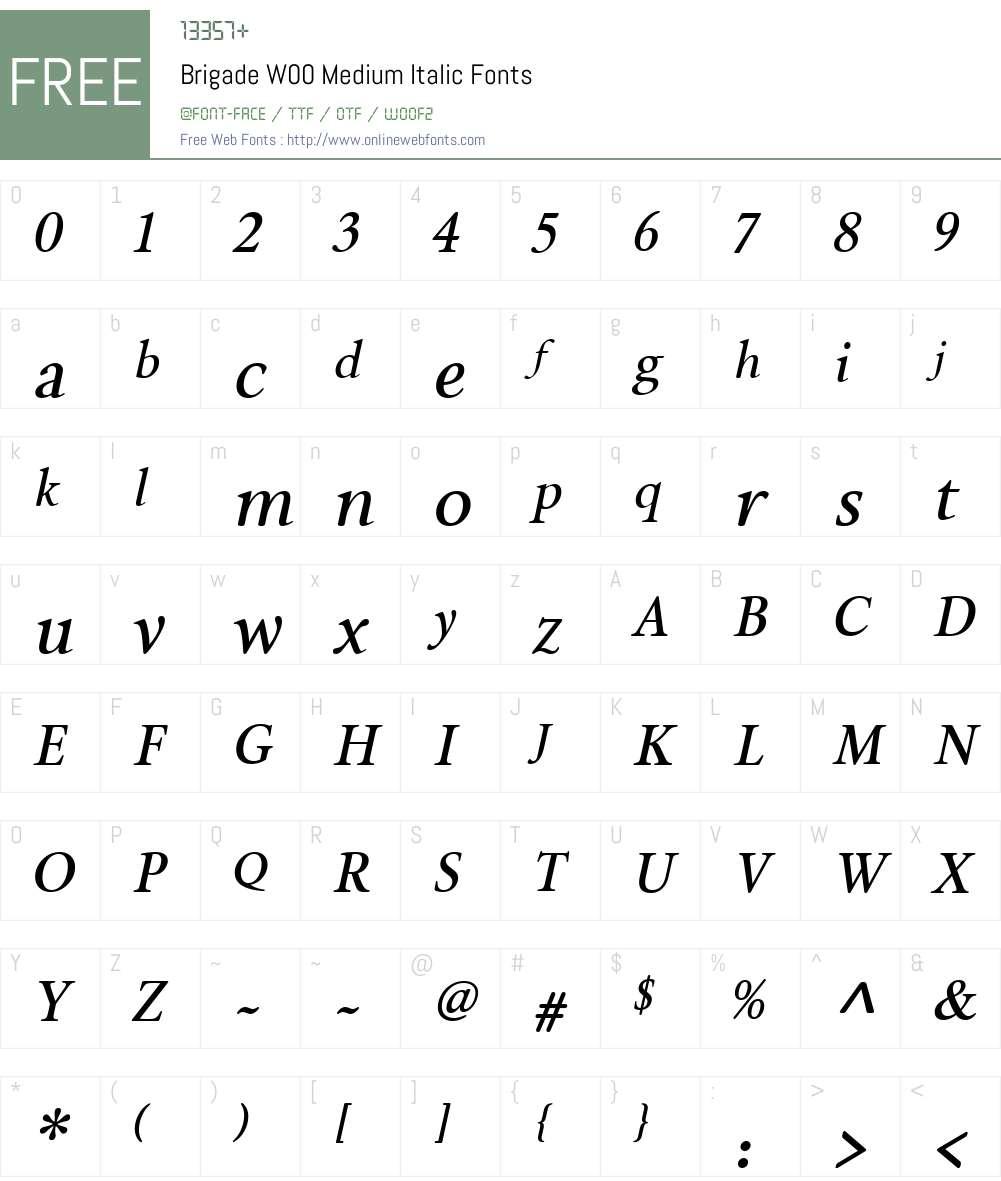 BrigadeW00-MediumItalic Font Screenshots