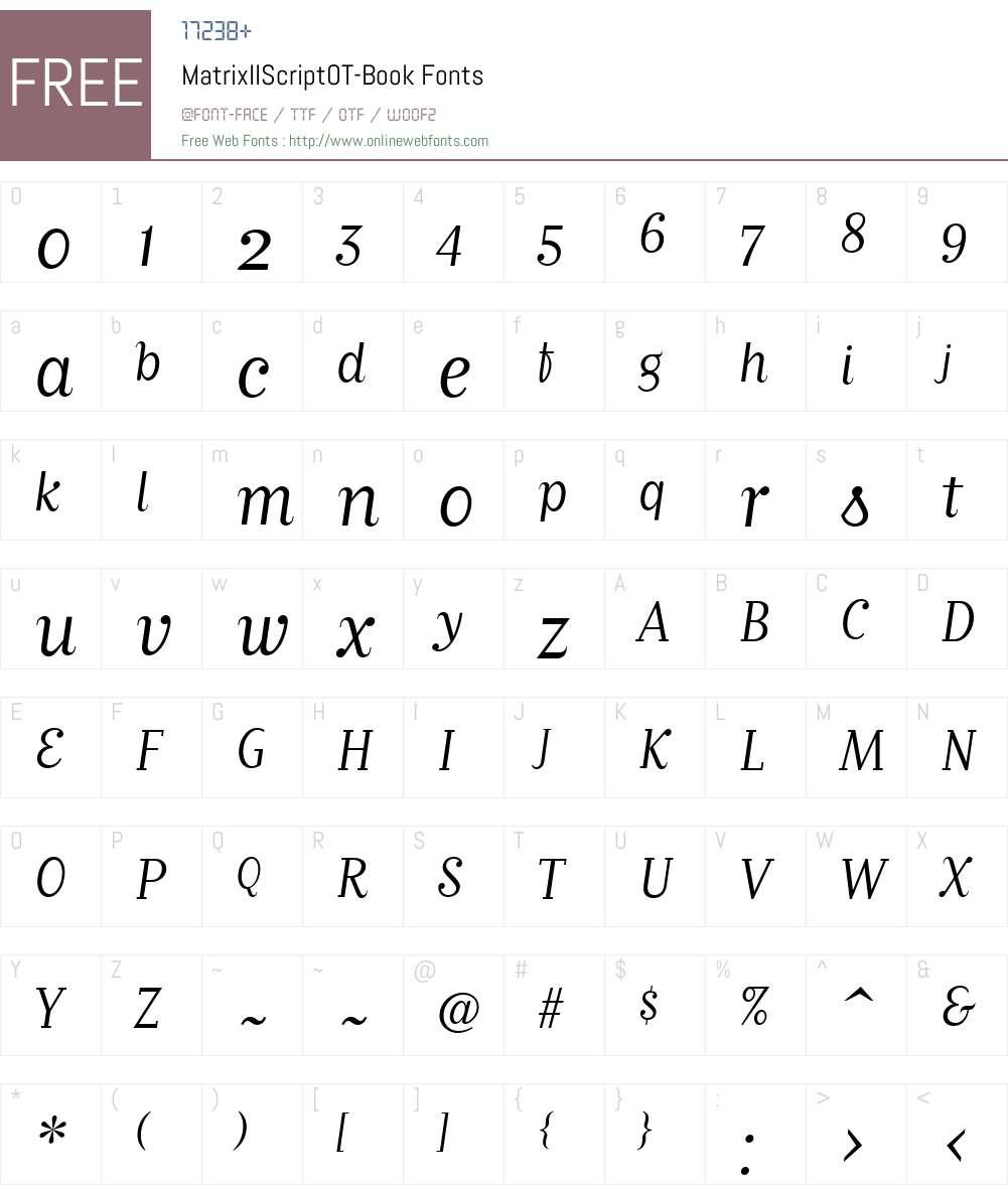 MatrixIIScriptOT-Book Font Screenshots