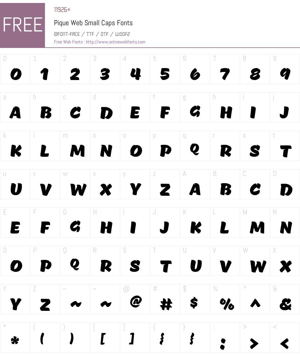 Pique Web Small Caps Font Screenshots