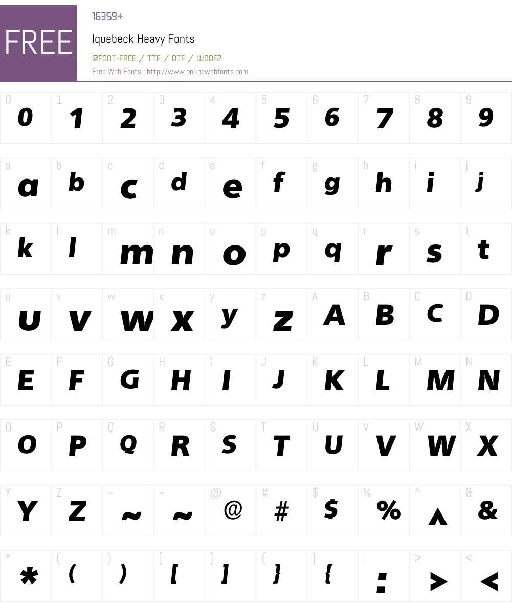 Iquebeck Font Screenshots