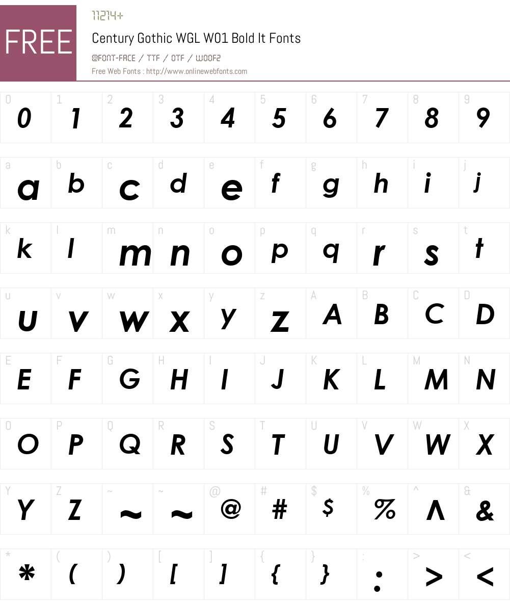 CenturyGothicWGLW01-BoldIt Font Screenshots
