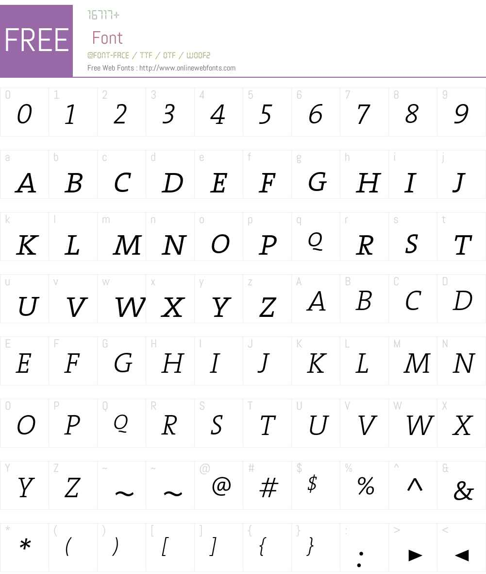 The Serif Light- Font Screenshots