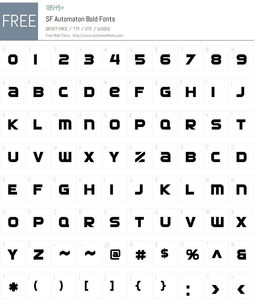 SF Automaton Font Screenshots