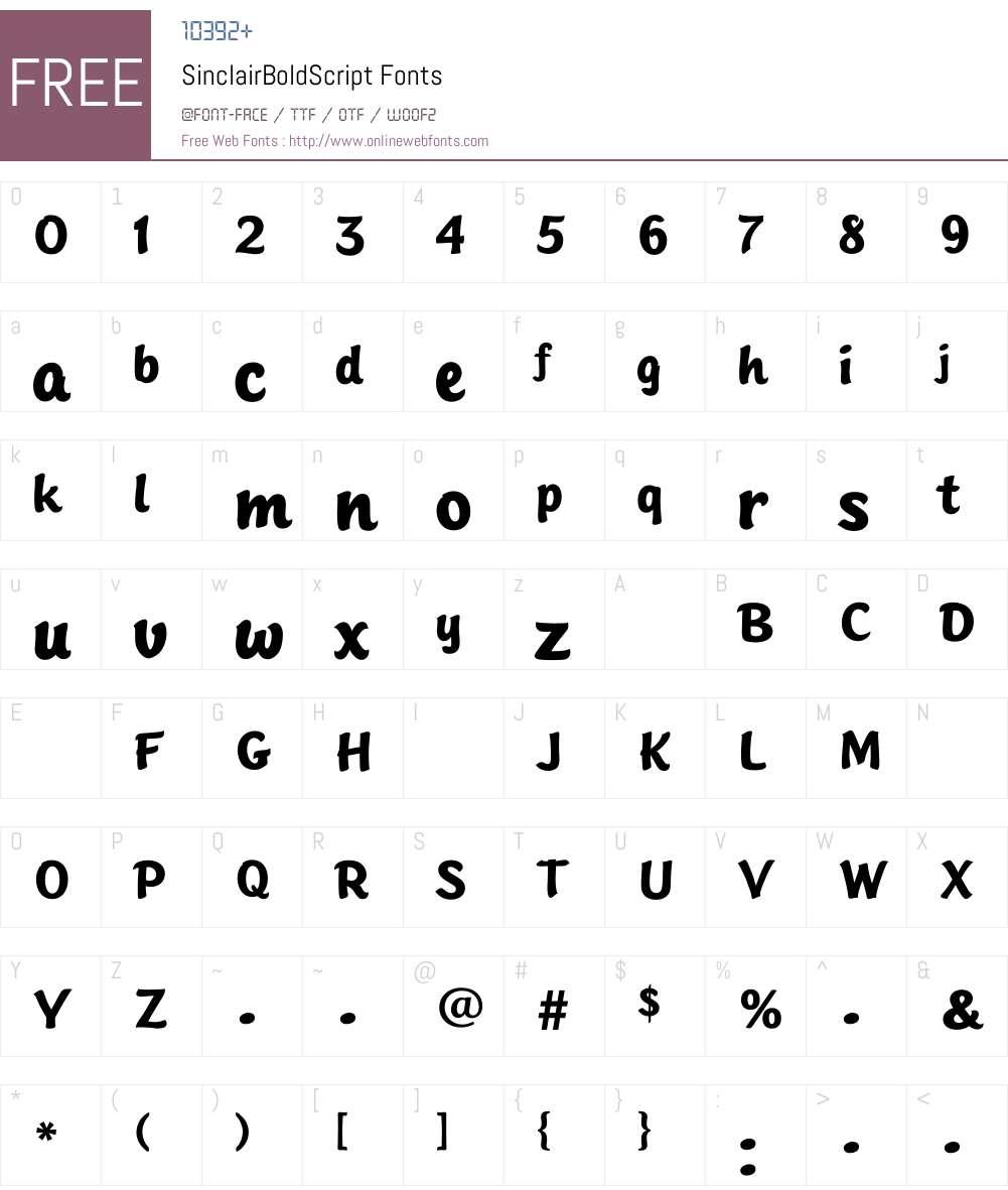 SinclairBoldScript Font Screenshots