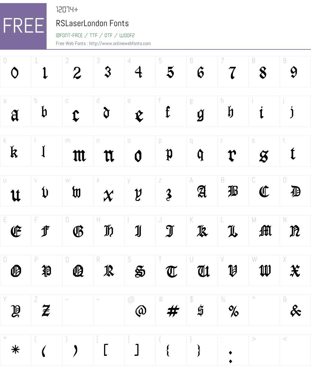 RSLaserLondon Font Screenshots
