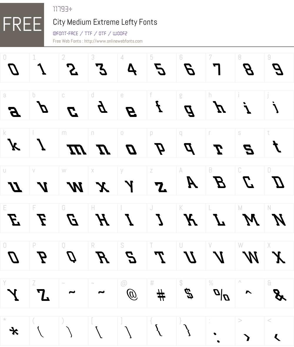 City-Medium Extreme Lefty Font Screenshots
