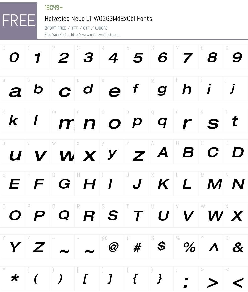 HelveticaNeueLTW02-63MdExObl Font Screenshots