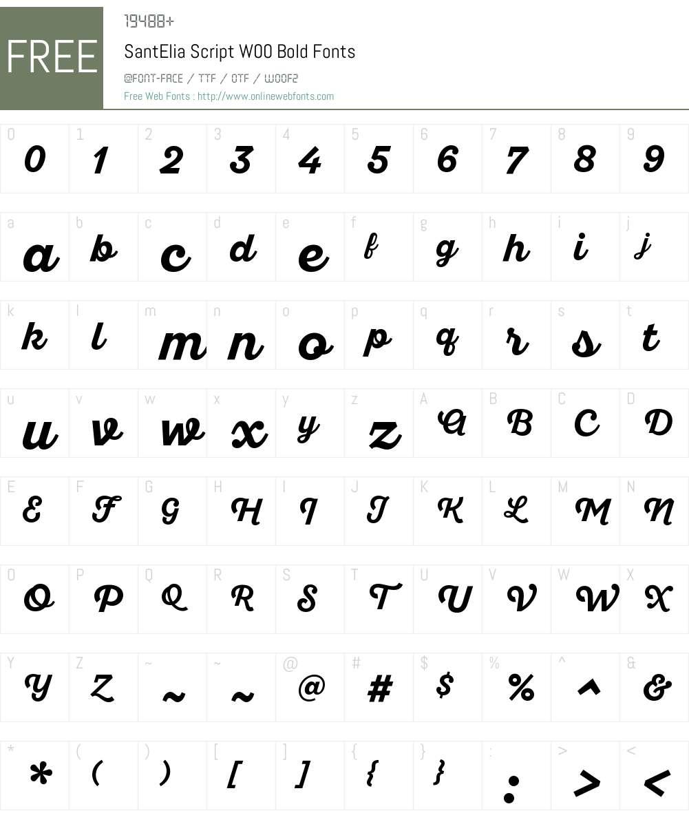 SantEliaScriptW00-Bold Font Screenshots